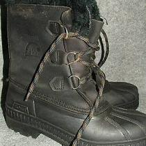 Sorel Badger Black Leather Insulated Winter Boots 6 Photo
