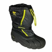 Sorel Black Yellow Youth Flurry Winter Snow Outdoor Traction Boots Size 4 Photo