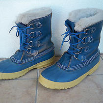Sorel Blue Leather Wool Insulated Waterproof Winter Snow Boots Women's Size 8  Photo