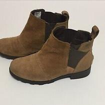 Sorel Brown Leather Waterproof Booties Shoes Girls Size 2 Photo