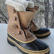 Sorel Caribou Boots Lined Insulated Winter Snow Shoes Waterproof Leather Men's 8 Photo