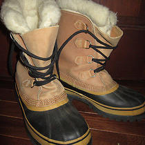 Sorel Caribou Mens Brown Leather Snow Boots Size 7 Insulated Wool Waterproof Photo