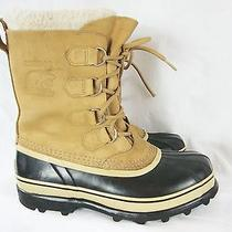 Sorel Caribou Winter Boots Buff Sz 10 -40f Warm Snow Liner Leather Nl-1005-280 Photo