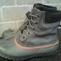Sorel Cheyanne Lace Winter Boots Youth Size 5 Insulated Leather Dark Gray Photo