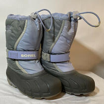 Sorel Child Insulated Waterproof Winter Snow Boots Ny1810-540 Size 1 Blue Gray Photo