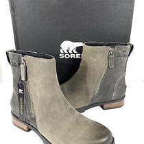 Sorel Emelie Zip Bootie Women's Sz 8 Quarry Gray Wp Leather Ankle Booties X7-37 Photo