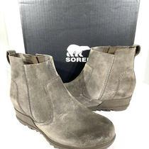 Sorel Evie Women's Size 8.5 Major Suede Inside Zip Wedge Ankle Booties X7-38 Photo