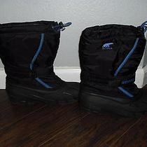 Sorel Flurry Black and Blue Winter Snow Boots Mens Size 7m Photo