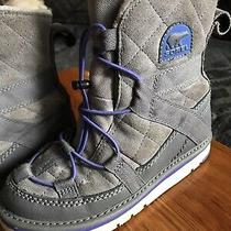 Sorel Girls Grey and Purple Faux Suede Leather Winter Boots Size 2 Photo
