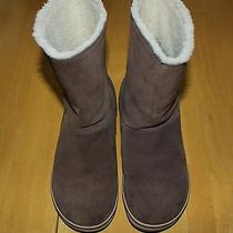 Sorel Glacy Saddle Fossil Brown 7 38 Suede Faux Fur Winter Boots  Photo