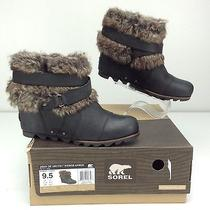 Sorel Joan of Arctic Wedge Ankle Black Boots Women's 9.5 B Faux Fur Photo