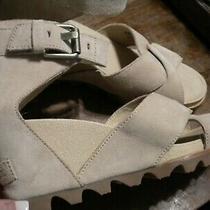 Sorel Joanie Sandal Ll Wedge Heel Lite Tan/oatmeal Leather Womens Size 7  Photo