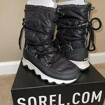 Sorel Kinetic Boot Sz 8 Black With White Treads  Waterproof Snow Boots Sneakers Photo