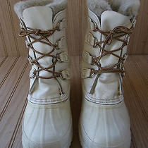 Sorel Manitou White Leather Insulated Winter/snow Boots Womens Size 6m  Photo
