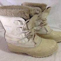 Sorel Manitou White Leather Insulated Winter/snow Boots Womens Size 10m  Photo