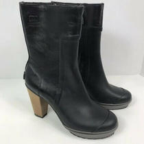 Sorel Medina Black Leather Platform Rain Boots Wood Block Heels Women's Size 8 Photo