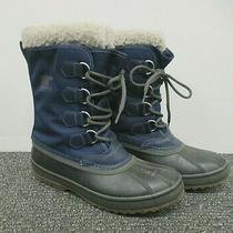 Sorel Men's Pac Blue Nylon Snow Waterproof Duck Boot Faux Fur Winter Boots Sz 8 Photo