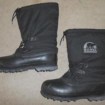 Sorel Mens 14 Black Rubber Waterproof Winter Boots Kaufman Canada Bear Euc Felt Photo