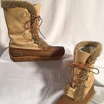 Sorel Nanook Felt Lined Brown/tan Leather Insulated Winter Boots Women's Size 10 Photo