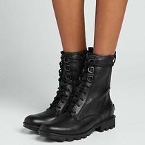 Sorel Phoenix Lace Black Leather Combat Boots Bootie Waterproof Sz 9.5 New Photo