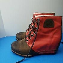 Sorel Premium Wedge Nl2174 Snow Winter Leather Red Womens Boots Booties Size 9 Photo