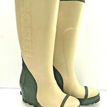 Sorel Size  6.5 Joan Beach Black Rubber Rain Wedge Waterproof Tall Boots Shoes Photo