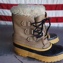 Sorel Snow Boots Youth 2 Canada Made Felt Liner Insulated Leather Lace Up  Photo