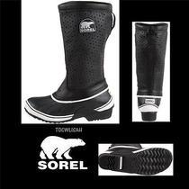Sorel Sorelli Black Women's Tall Boots  Insulated Leather-Rubber Sizeus6 120 Photo