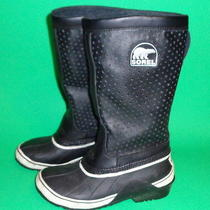 Sorel Sorelli Tall Womens Winter Boots Insulated Leather Rubber Black Nr Photo