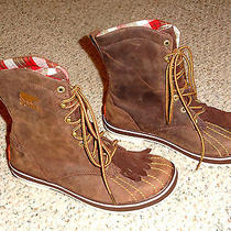 Sorel Tivoli Camp 18 Size 7 Brown Leather Winter Boots Waterproof Insulated New Photo
