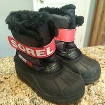 Sorel Toddler's Snow Commander Boots Nv1877-089 Black Red Size 12 Eu 29 Uk 11 Photo