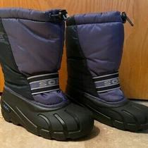 Sorel Winter Boots Youth Cub Ny1799-498 Size 4 Blue Black Waterproof Lined Photo