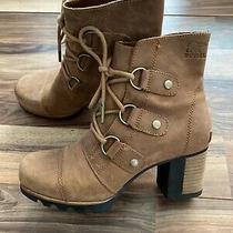 Sorel Women's Addington Lace Up Booties Elk Fossil Brown Size 7.5 Shoes Boots Photo