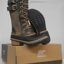 Sorel Womens Conquest Carly Ii Tall Boots Waterproof Leather Lace Peatmoss 5.5 Photo