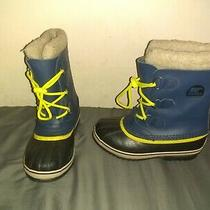 Sorel Yoot Pac Duck Snow Boots Blue Yellow Lined Lace Up Winter Youth Size 4 Photo