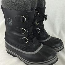 Sorel Yoot Pac Kids Sz 3 Sz Womens 5 Black Leather Insulated Snow Boots Boy Girl Photo