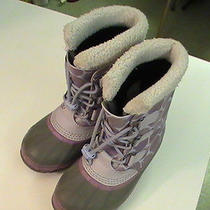 Sorel Yoot Pac Tp Youth Boots Size 4 Pink Snow Flakes Waterproof Leather  Photo