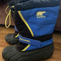 Sorel Youth Flurry Ny1885-014 Insulated Waterproof Blue Snow Boots Size 4 Photo