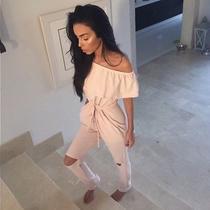Sorelleuk Blush Pink Bardot Off Shoulder Knee Hole Lounge Jumpsuit Size S/m Photo