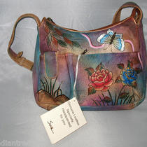 Sova Hand-Painted Leather Rose Floral Art Phone Hobo Bag Nwt Photo