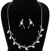Sp Swarovski Elements White Pearl Crystal Bridal Floral Vine Necklace Set  Photo