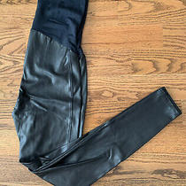 Spanx Faux Leather Maternity Leggings  Pants Women's Size L Black  Photo