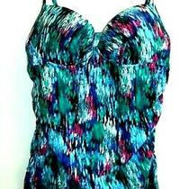Spanx Love Your Assets by Sara Blakely Tankini Top Teal Pink Size Medium Photo