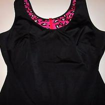 Spanx Slimplicity Black Slimming Tank Top Large L Purple Animal Print Lining  Photo