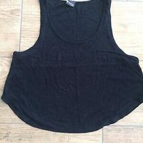 Sparkle and Fade at Urban Outfitters Black Scoop Bottom Vest Top Size Small Photo