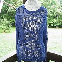 Sparkle & Fade Urban Outfitters Navy Blue Open Knit Oversized Sweater (Sz l) Nwt Photo