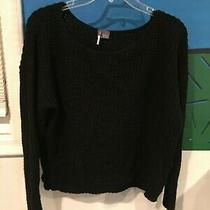 Sparkle & Fade Urban Outfitters Sz M Oversized Crop Knit Black Sweater Top  Photo