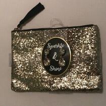 Sparkle & Shine Gold Glitter Zipper Clutch Fashion Earring Set New Photo