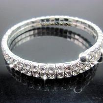 Sparkling 210 Row Diamante Swarovski Crystal Cuff Winding Bracelet Wedding Prom Photo