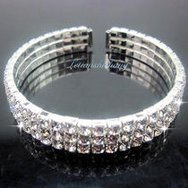 Sparkling 310 Row Diamante Swarovski Crystal Choker Cuff Bracelet Wedding Prom Photo